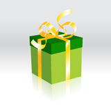 Gift box. Present with golden ribbon. A gift, Surprise Stock Image
