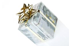 Gift box of 5 euro. Money gift box isolated on a white background Stock Images