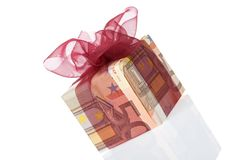 Gift box of 50 euro Stock Images