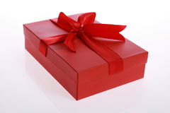 Gift box. Red color gift box with beautiful ribbon Stock Photo