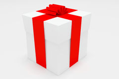 Gift box. Surprise white gift box with red tape Stock Photos