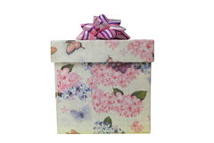 Gift box. 2d gift box with flowers and butterflies print Stock Image