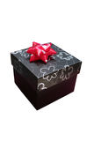 Gift box. 3d black gift box with silver graphic flowers print & red ribbon Stock Images
