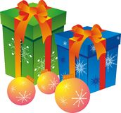 Gift box. Green and blue box with red ribbon and christmas ball isolated on white Stock Photography
