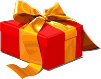 Gift box. Christmas gift box with golden bow Royalty Free Stock Photos