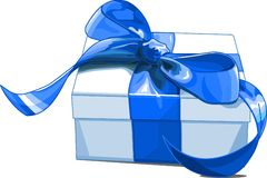 Gift box. Christmas gift box with blue bow Stock Images