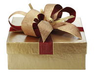 Gift box. Gold christmas gift box isolated on white Royalty Free Stock Image