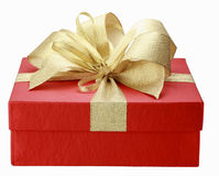 Gift box. Red christmas gift box isolated on white Royalty Free Stock Photo