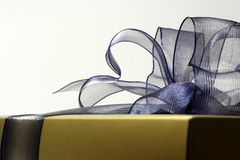 Gift box. A gold gift box with blue ribbon over white background, a close up shot Royalty Free Stock Photos