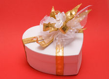 Gift box. With golden bow stock images