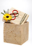 Gift box. With number 8 and flower on cover, isolated on white background Stock Photos