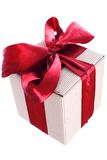 Gift box. With red ribbon and bow isolated on white Stock Photos