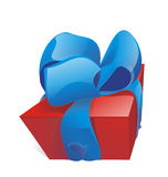 Gift box. With blue bow Royalty Free Stock Image