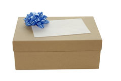 Gift box. Brown gift box with blue ribbon bow for trim Stock Photos