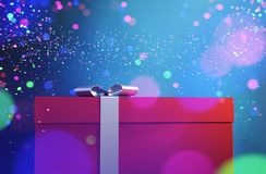 Gift box with Abstract colorful blurred lights. For christmas design background,3d illustration vector illustration