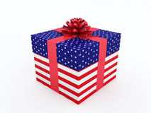 Gift box with American flag texture Stock Image
