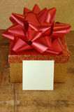 Gift Box And Blank Card Stock Photo