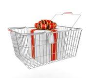 Gift Box And Shopping Basket Royalty Free Stock Photos