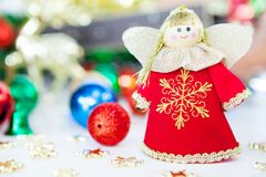 Gift box angel pray and Christmas tree toy decoration. or New Ye Royalty Free Stock Photography