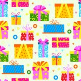 Gift box packs composition event greeting object birthday  vector seamless pattern background . Stock Photos
