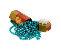Gift box with aquamarine beads Stock Image