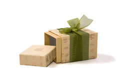 Gift box in asian style with hieroglyphs. And green ribbon. Isolatet on white. Path included Stock Image