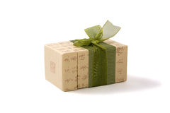Gift box in asian style with hierogyiphs. Gift box in asian style with hieroglyphs and green ribbon. Isolatet on white. Path included Royalty Free Stock Image
