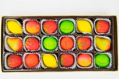 Gift box of assorted marzipan Royalty Free Stock Photos