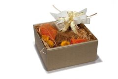 Gift box autumn style. Gift box fitted with dried autumn style flowers Stock Photos