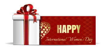 Gift box on the background of a greeting card. Happy International Womens Day Royalty Free Stock Photography