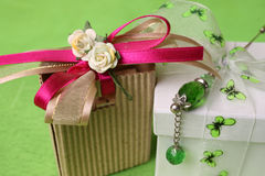 Gift Box and bag. White gift box and small brown gift bag with ribbons Royalty Free Stock Images