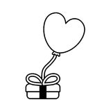 Gift box balloon heart festive valentine outline Royalty Free Stock Photo