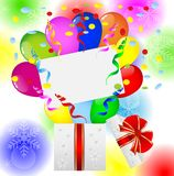Gift box with balloons on a bright christmas background Royalty Free Stock Photography