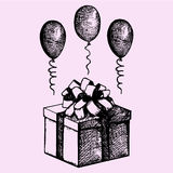 Gift in a box with balloons. Doodle style, sketch illustration, hand drawn, vector Royalty Free Stock Photography