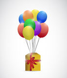 Gift box and balloons. illustration design. Over a white background Stock Image