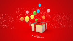 Gift box and balloons Royalty Free Stock Photography