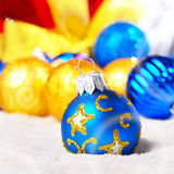 Gift box with balls Royalty Free Stock Photo