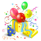Gift box with balls and ribbons. Gift box with balloons and streamers. Vector illustration Royalty Free Stock Photo