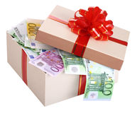 Gift box with banknote of euro. Royalty Free Stock Images