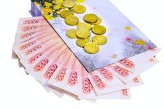 Gift box and banknotes Royalty Free Stock Photos