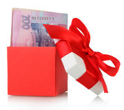 Gift box with banknotes Stock Photography