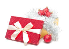 Gift box with baubles Royalty Free Stock Photos