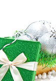 Gift box with baubles Stock Photo