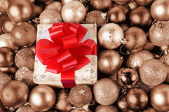 Gift box and baubles retro Royalty Free Stock Images