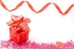 Gift box with bead Stock Photo