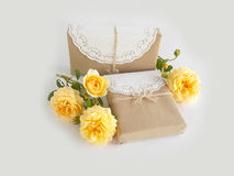 Gift box with beautiful rose Stock Photos