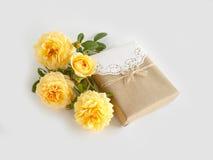 Gift box with beautiful rose Stock Photo