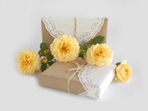 Gift box with beautiful rose Stock Photography