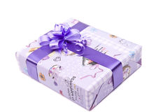 Gift box with big bow ribbon Stock Images