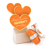 Gift box with big hearts Stock Images